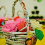 Custom made basket from recycled magazine material