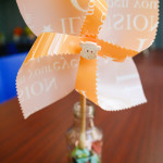 custom made pinwheels by #partyko partially using recycled materials (chopsticks and plastic folders)